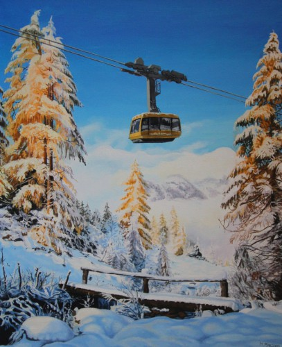 Cableway in winter na | 60 x 50 cm