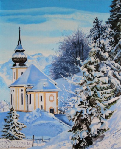 Winter landscape with a church | 60 x 50 cm