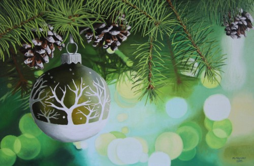 Bauble on a twig of a Christmas tree | 40 x 60cm