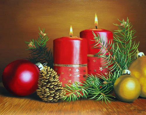 Christmas Wreath with Candles | 40 x 50 cm